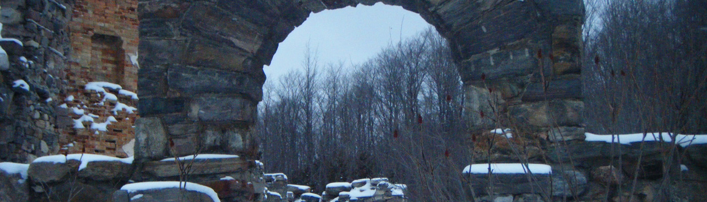 Collingwood, Ontario, historical, stone masonry, folly, derelict, winter
