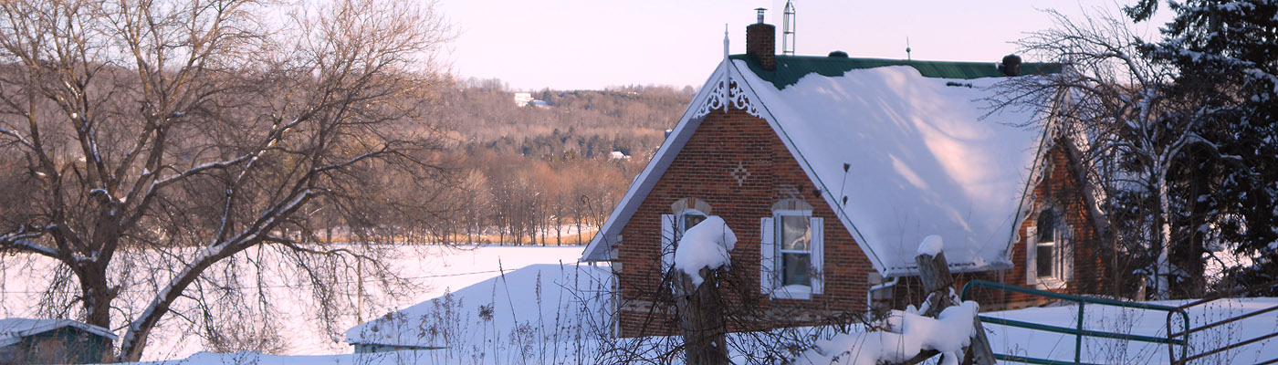 ontario gothic farmhouse in winter, gingerbread bargeboard