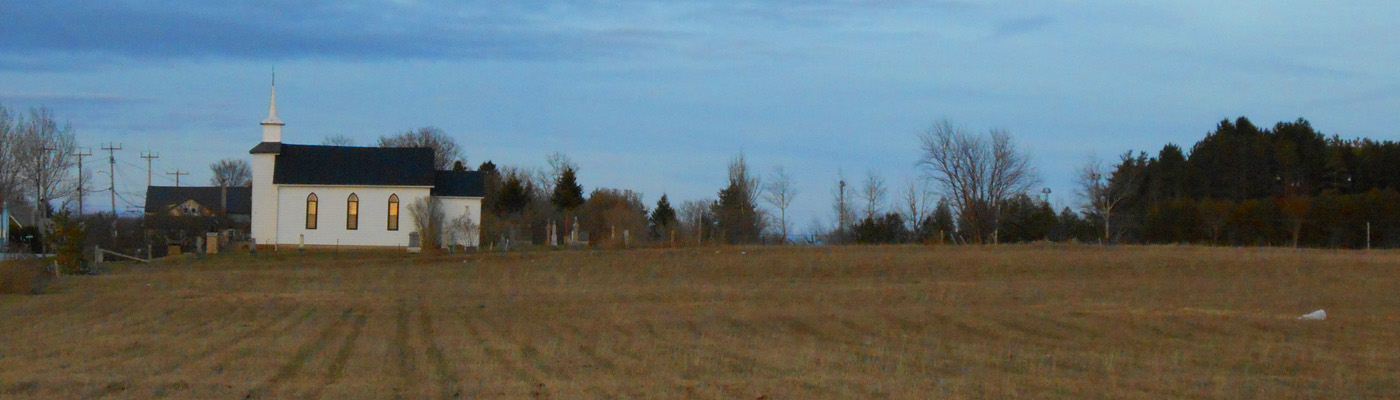 Maxwell, Ontario, Feversham, church, fields